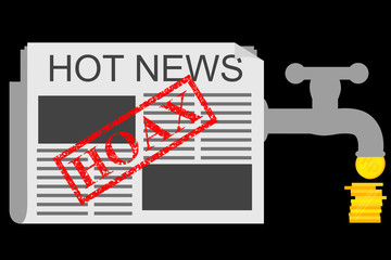 Illustration for Get Earn from Hoax (Fake) News, at Black Background