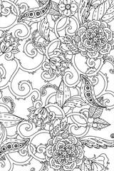 Vector Monochrome Floral Pattern