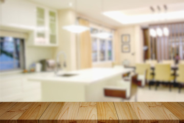 Empty wood table in modern kitchen room. for product montage  display.