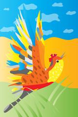 vector cartoon happy  bird