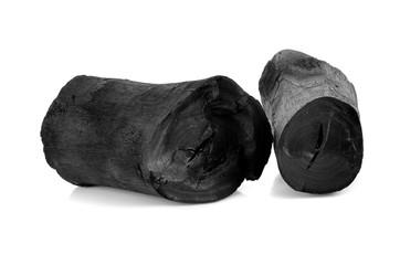 Hardwood charcoal isolated on white.