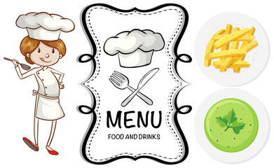 Chef and different dish on menu