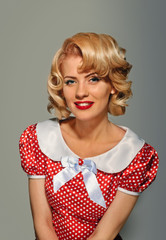 retro pinup coquettish blonde girl
