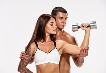 Young couple training
