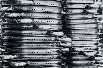 Stainless steel of kitchen ware.