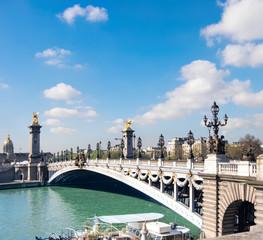 Foto op Aluminium Krakau Alexandre Bridge in Paris on a bright sunny morning, panorama
