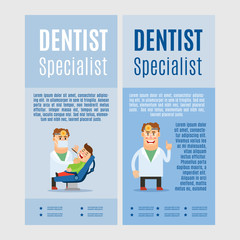 Dentist specialist vertical flyers, vector illustration on blue background