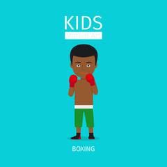Kids martial art vector illustration. Boxing boy illustration on blue background