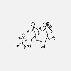 Cartoon icon sport of sketch little family