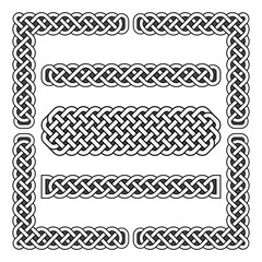 Celtic knots vector medieval borders and corner elements