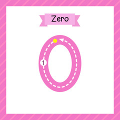 Cute children Flashcard number zero tracing for kids learning to count and to write.