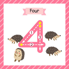 Cute children Flashcard number four tracing with 4 Hedgehogs for kids learning to count and to write.