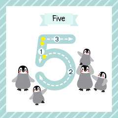Cute children Flashcard number five tracing with 5 Penguins for kids learning to count and to write.