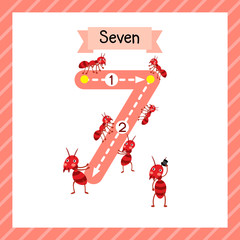 Cute children Flashcard number seven tracing with 7 fire Ants for kids learning to count and to write.
