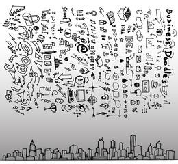 Business Cityscape doodles vector illustration eps10