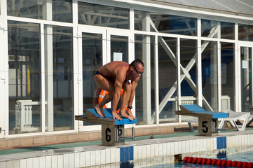 Swimmer in the swimming pool