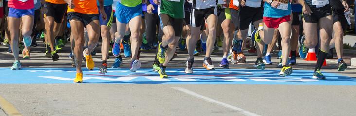runners background start finish line