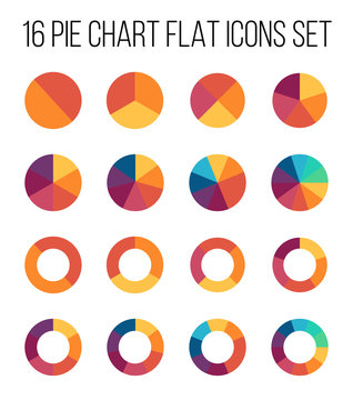 Set of pie chart icons in modern thin flat style.