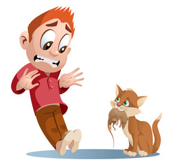 Funny cat holding rat. Man shocked. Cartoon styled vector illustration. Elements is grouped and divided into layers. No transparent objects.