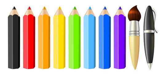 Set of realistic colored pencils brush pen