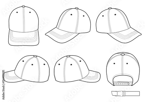 baseball cap technical drawing flat sketches template stock image and royalty free vector. Black Bedroom Furniture Sets. Home Design Ideas