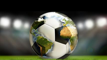 worldwide soccer ball football 3d render