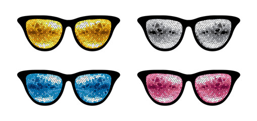 Set of glasses for a party / Vector illustration, print,  with sunglasses with reflection of disco balls .