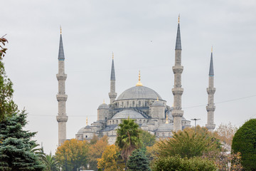 Blue mosque at cloudy morning, Istanbul, Turkey.