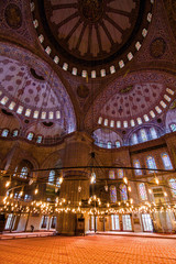 Lights inside Blue mosque, Istanbul, Turkey.