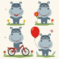 Vector set funny hippo plays on meadow. Collection isolated hippo on bicycle, with balloon and flower in cartoon style.