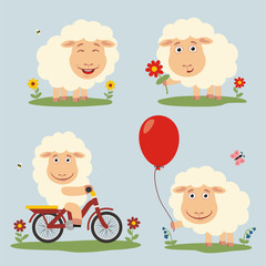 Vector set funny sheep plays on meadow. Collection isolated sheep on bicycle, with balloon and flower in cartoon style.