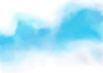 Abstract white and blue on watercolor paper texture style background. Digital painting.