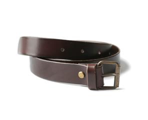 Stylish leather belt on white background