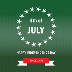 Independence day of the USA. Poster fourth of july on green background
