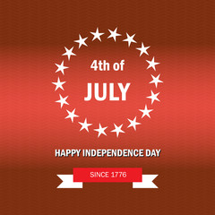 Independence day of the USA. Poster fourth of july on red background