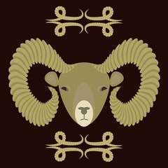 символ барана на темном фоне, векторная иллюстрация