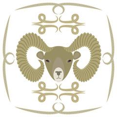 символ барана на белом фоне, векторная иллюстрация