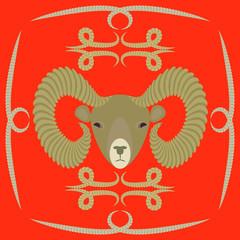 символ барана на красном фоне, векторная иллюстрация