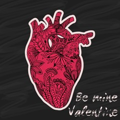 Hand drawn human heart in doodle style. Valentine Day. Be mine Valentine. Vector illustration.