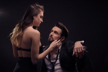 young couple woman touching man beard head face