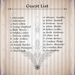 A guest list. Vector illustration of oriental design elements. Made old paper with stripes. Can be used as a blank for all of your text.