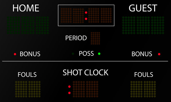Sports electronic scoreboard. Blank electronic scoreboard mockup. Vector illustration