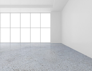 White empty wall contemporary gallery. Modern open space expo with concrete floor. 3d rendering.