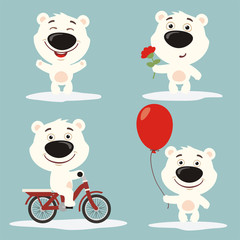 Vector set funny polar bear play on meadow. Collection isolated polar bear on bicycle, with balloon and flower in cartoon style.