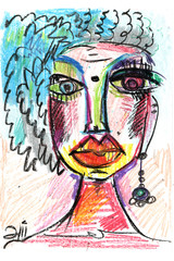 face in decorative style. fashion illustration. pastel-4