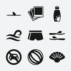 Set of 9 Beach filled icons