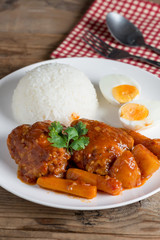 Chicken stew with sauce tomato and egg, rice.