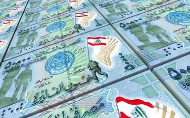Lebanese pounds bills stacked background. 3D illustration.