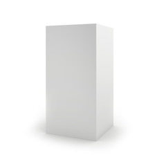 Blank cardboard package box on white background. 3d render.