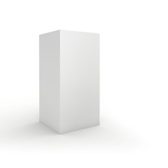 Blank box on white background. 3d render.
